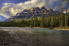 Castle Mountain above the Bow River -  Bow Valley Parkway, Banff National Park, Alberta, Canada