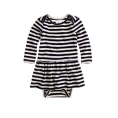 J.Crew baby long-sleeve skirted one-piece in classic stripe.