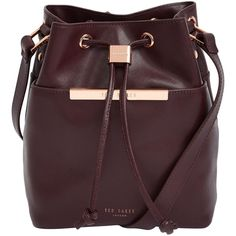Ted Baker Ersilda Mini Buck Across Body , Oxblood ($245) ❤ liked on Polyvore featuring bags, handbags, shoulder bags, oxblood, leather shoulder bag, leather crossbody purse, leather cross body purse, mini shoulder bag e crossbody purse