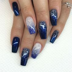 25 Long Blue Coffin Nail Designs You Will Want to Try - Long Blue Coffin Nail Designs You Will Want to Try,blue coffin nails with glitter,blue coffin nails - Blue And Silver Nails, Navy Blue Nails, Blue Glitter Nails, Blue Coffin Nails, Nail Art Blue, Blue Gel Nails, Glitter Dust, Silver Glitter, Dark Color Nails
