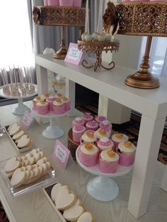 Blush gold and white -️sweet bar -bridal shower - Elegant Bridal Shower, Sweet Bar, Blush And Gold, Candy Buffet, Desserts, Food, Tailgate Desserts, Deserts, Meals