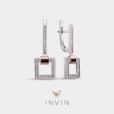 ANTWERP EARRINGS Stylish Geometric Silver and 9kt. Rose Gold Earrings with Cubic Zirconia.  Striking squares bring to mind the world famous Museum ann de Stroom in Antwerp, while sparkling cubic zirconia evokes the city's sumptuous Renaissance architecture. These are bold, sophisticated earrings, equally graceful and graphic, like the city from which they take their name. Renaissance Architecture, Rose Gold Earrings, Antwerp, Squares, Cufflinks, Ann, Jewelry Design, Museum, Stylish