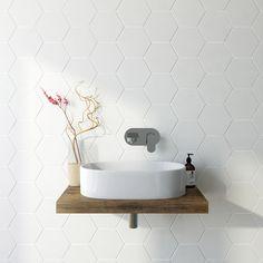 British Ceramic Tile Hex marble white matt tile x Black Tiles, Grey Tiles, White Tiles, White Marble, Cheap Bathroom Tiles, Bathroom Wall, Bathroom Ideas, Cloakroom Ideas, Bathroom Inspiration