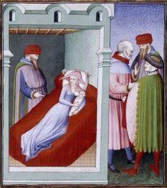 Madre durmiendo con su hijo (manuscrito francés. s.XV)