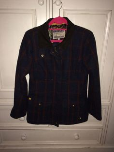 Joules Ladies Field Jacket Navy Tarten Tweed Size 14 Rrp £229.99