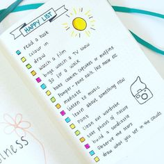 11 Amazing Bullet Journal Ideas That Cultivate Self-care -Our Mindful Life - Bullet Journal inspo - 11 Amazing Bullet Journal Ideas That Cultivate Self-care -Our Mindful Life My happy list things to do while I have some spare time or am in need of a pep Bullet Journal Inspo, Bullet Journal Novembre, Self Care Bullet Journal, Bullet Journal Monthly Spread, Bullet Journal Layout, Bullet Journal Water Tracker, Journal Inspiration, Journal Ideas, Journal Aesthetic