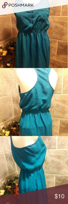 FOREVER 21 BLUE AQUA MINI DRESS RACER BACK S used good condition Forever 21 Dresses Mini
