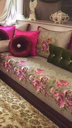 Salon marocain rose gris – Amenda decor
