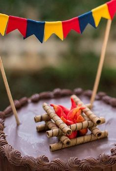Campfire Cupcakes, Campfire Cake, Indian Birthday Parties, Birthday Party Decorations, Bento, Tasty Chocolate Cake, Camping Parties, Childrens Party, Party Cakes