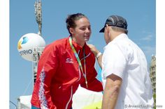 Keri-Anne Payne of Great Britain receives her medal. (ATR)
