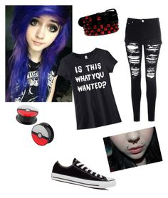 """""""emo/scene outfit"""" by cinnam0nster ❤ liked on Polyvore featuring Glamorous, Converse, emo and scene"""