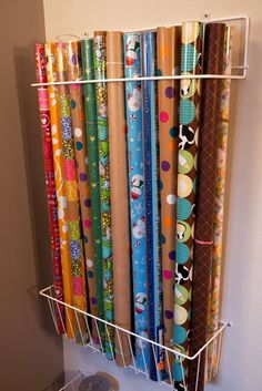 craft room organization: Best way to organize gift wrap :)