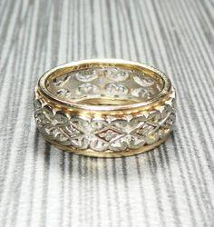 Platinum Diamond Baguette Wedding Band Vintage Ring Double Row 1960 S By Belmarjewe