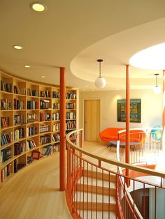 Library design interior in an organized home.