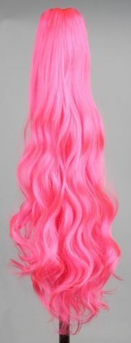 Long-Wavy-21-034-Colorful-Clip-In-On-Hair-Extensions-Piece-Curly-Claw-Ponytail-wig