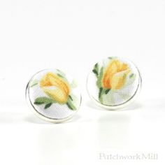 Yellow Rosebuds Flower Stud Earrings, Floral Fabric Buttons, Bridal Jewelry via Patchwork Mill.  #tulips #earrings #fabric #jewelry #bride