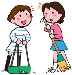 掃除の時間 掃き掃除 イラスト