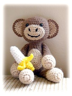 crochet monkey with banana pattern  I have started this for Holden!