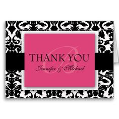 Damask Wedding Thank You Cards Monogram Thank You Cards Red & Black Damask Graduation Thank You Cards, Wedding Thank You Cards, Graduation Ideas, Monogram Wedding Invitations, Wedding Stationery, Create Your Own Card, Damask Wedding, Thank You Card Template, Cute Cards