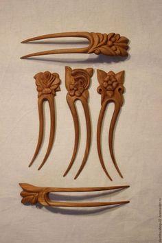 Заколки ручной работы. Ярмарка Мастеров - ручная работа. Купить Заколки деревянные резные. Handmade. Комбинированный, подарок девушке