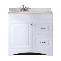 Shop Style Selections White Integral Single Sink Bathroom Vanity with Cultured Marble Top (Common: 36-in x 19-in; Actual: 36.5-in x 18.6-in) at Lowes.com