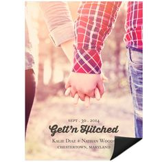 A favorite photo of you both covers these save the date magnets, while the wedding date and details sit on top in your choice of color.