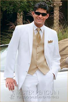 white and gold prom tux   Home > Tuxedos > Quinceañera Collection > White La Strada ...