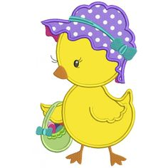 Cute Chick With Easter Basket Applique Machine Embroidery Design Digitized Pattern