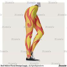Red Yellow Floral Design Leggings