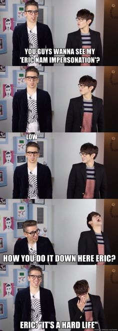 """""""It's a hard life."""" Lol Brad from Busker Busker making fun of Eric's shortness xD"""