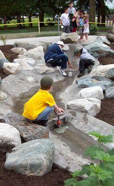 Enchanting Backyard Playground Kids Design Ideas playground natural playgrounds ideas for kids playground playground ideas concept criativo Water Playground, Playground Design, Backyard Playground, Backyard Stream, Preschool Playground, Children Playground, Cozy Backyard, Backyard For Kids, Backyard Landscaping