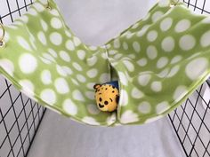 Rat hammock, green hammock, polka dot hammock, pocket hammock, fleece cage accessories, pet sleeping bag, wire cage accessories, rat bed by CreatedbyLauraB on Etsy