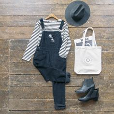 That classic dungaree and stripe tee look. Corduroy dungaree pants, stripe tee, @brixton hat, made-to-measure Chelsea boots and new olive tote. All online and in store now. #olive #oliveclothing #cheltenham
