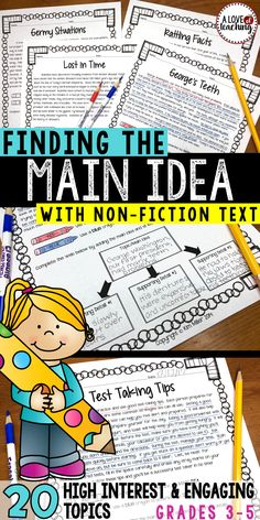 Finding the Main Idea with Non-Fiction Text: 20 different non-fiction reading passages for students to use while they practice finding the main idea and supporting details. Classroom activities for teaching main idea and supporting details.