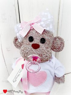 Baby+Shower+Sock+Monkey+Doll+Baby+Girl+Sock+por+SockMonkeyBizz,+$46,50