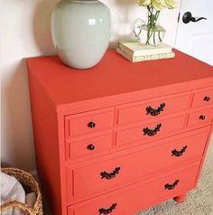 sarah m. dorsey designs: Coral Dresser for the Guest Bedroom DIY-Furniture-Transformations Refurbished Furniture, Furniture Makeover, Painted Furniture, Painted Dressers, Painted Chest, Furniture Update, Furniture Assembly, Repurposed Furniture, Coral Dresser