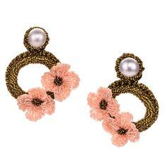JJ Caprices - Hand Crocheted Flower Earrings - Pink