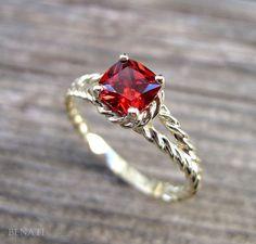 Ruby Engagement Ring Cushion Ruby Braided Rope by Benati on Etsy