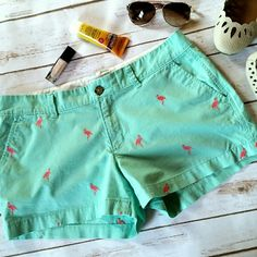 "Mint and Pink Flamingo Shorts Little pink flamingos make these mint colored shorts too perfect for summer! Excellent condition. No rips / stains / tears.  Inseam 3"".  Size 8 Old Navy Shorts"