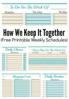 Free Weekly Planner Templates. Some awesome ideas here for staying organized and making a schedule that works for your family!