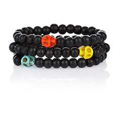 Black bright skull bead bracelet pack £4.00