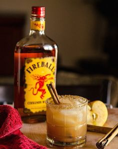 Apple Pie on the Rocks  Ingredients: 1 oz. Vanilla Vodka 1 oz. Fireball Whiskey 4 oz. Apple Juice Pinch of Ground Cinnamon Brown Sugar for the rim (Grind a little finer for more successful sugaring) Optional: Cinnamon Stick for Garnish Ice