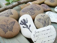 stamped rocks - gonna try these. I have lots of rocks in the yard!  : )