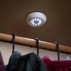 10 ways to add closet lighting no wiring required for the home rh pinterest com Closet Doors Wiring Closet Mess
