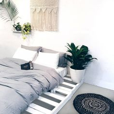"""825 Likes, 20 Comments - @yohomeau on Instagram: """"Plants + pallet bed + dreamy macrame + the softest bamboo sheets you'll ever feel = bedroom…"""""""