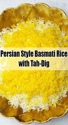 This rice is cooked using the chelow method. It includes presoaking, parboiling, and steaming the rice. This results in a fluffy rice with each grain separate, and the bottom of the pot has a crispy golden brown crust called tah-dig.