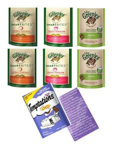 GREENIES Feline Variety Bundle for Cats: Hairball Control (2), Healthy Skin and Fur (2), and Dental Care (2), and Bonus Temptations Creamy Diary Flavor Treats (1) * Read more reviews of the product by visiting the link on the image.