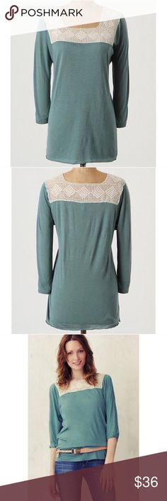 NWOT Anthropologie Tiny Chain Stitched Tee M Tiny's jersey three-quarter sleeve is crested with a crochet collar.  Rayon, cotton  Hand wash  Comes from a smoke and pet free home. Item is new without tags and has never been worn.     Prices? My prices are firm. They are the lowest I can go. I do offer bundle sales throughout the year.   Trades and Holds? I'm sorry, I do not offer a trade option. I also do not offer holds. Anthropologie Tops Blouses