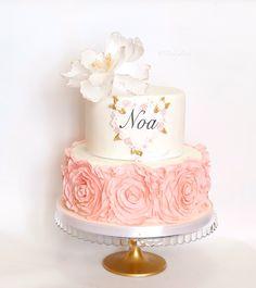 Cake Welcome baby, tarta bien venida bebe by Pastry Fork, Mallorca Baby Girl Christening Cake, Baby Girl Birthday Cake, Happy Birthday Cakes, Beautiful Wedding Cakes, Beautiful Cakes, Sweet Sixteen Cakes, Butterfly Cakes, Cake Boss, Girl Cakes