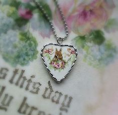 Vintage Recycled Broken China~Sweet Bunny in the Roses~Charm~Heart~Pendant Easter 2018, Broken China Jewelry, Rose Garland, Romantic Roses, Heart Pendant Necklace, Silver Roses, Love Is Sweet, Ball Chain, Recycling